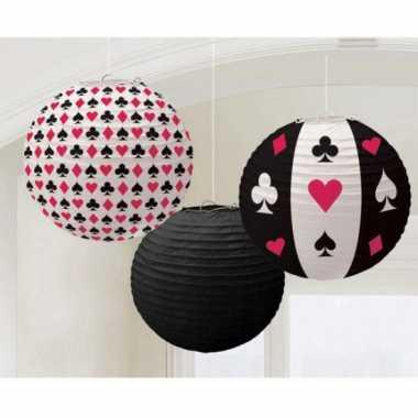 Casino decoratie lampionnen 3 stuks